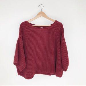Free People Oversized Maroon Dolman Sweater